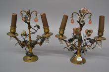 Pair of early 20th century French gilt bronze tole decorated Girandole table lamps, enamelled porcelain flowers, colour glass drops, each approx 26cm H (2)