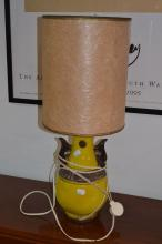 Italian 1970's yellow ground pottery lamp, approx 63cm H