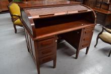 Twin pedestal roll top desk, approx 108cm H x 127cm W x 81cm D