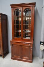 Antique style two height bookcase, approx 244cm H x 100cm W x 53cm D