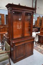 Antique English mahogany two height bookcase, approx 210cm H x 107cm W x 44cm D