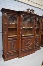Impressive Antique French three door breakfront bookcase, heavily carved decoration to all panels, approx 250cm H x 280cm W x 54cm D