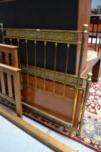 Antique French brass and birds eye satinwood panelled bed