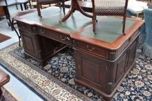 Twin pedestal partnership desk, approx 78cm H x 180cm W x 90cm D