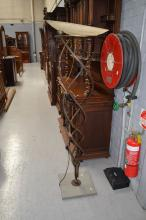 Signed Italian standard lamp, scrolling wrought iron support, with glass shade (af) approx 180cm H
