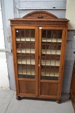 Vintage oak leadlight two door bookcase, approx 167cm H x 91cm W x 28cm D