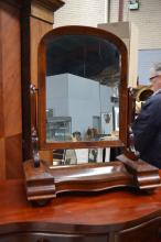 Antique mahogany toilet mirror, approx 85cm H x 67cm W x 31cm D