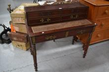 Antique French Louis XVI style parquetry desk, fitted with bronze mounts, approx 93cm H x 103cm W x 51cm D