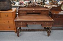 Antique French Henri II carved oak desk, approx 118cm H x 130cm W x 67cm D