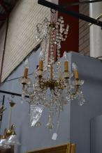 Vintage French six light chandelier, gilt metal arms with cut crystal drops