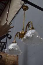 Two light brass light fitting