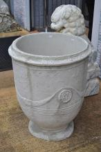 A large composite stone French style Anduze garden pot, approx 74cm H x 59cm dia