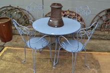 Vintage French pale blue painted garden table and four arm chairs, table approx 72cm H x 95cm dia (5)