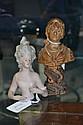 Antique European porcelain half doll along with a