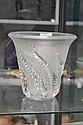 Lalique French frosted & clear glass vase, 19 cm