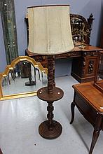 French wooden standard lamp