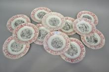 Antique French circus series ware plates, approx 20cm dia (12)