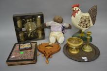 Silver plate tray, wind chime, rose bowl, candlestick, coffee set, chook, cabbage patch doll, coasters and place mats