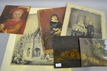 Assortment of unframed art and photos, approx 38cm x 48cm