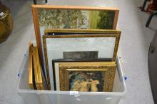 Box of estate paintings and prints, etc