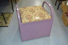 Lloyd Loom style bedroom stool with lift up seat, approx 50cm H x 47cm W