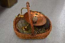 Basket full of light fittings, chandelier parts and heater etc