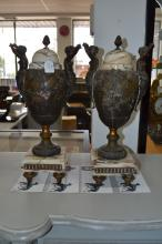 Pair of Antique French figural spelter & marble urn form Cassoulet, mounted with female terms, approx 50cm H (2)