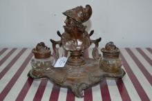 Antique French figural bronzed spelter Renaissance style inkstand, approx 21cm H x 21cm W