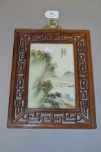 Fine Chinese framed Famille verte porcelain panel, landscape with figures in a boat, signed upper right, approx 27.5cm x 21cm W including frame