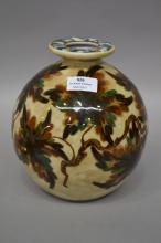Limoges ovoid signed vase of autumn tones approx 21cm H x 17cm Dia