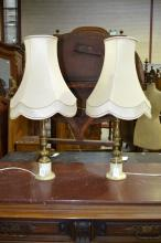 Pair of alabaster base & brass column form table lamps with shades, approx 65cm with shades (2)