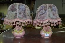 Pair of pottery lamps with floral decoration, approx 35cm (2)