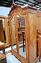 Antique French Louis XV walnut two door armoire.