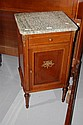 Vintage French Parquetry marble topped nightstand