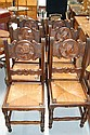 Set of six French Brittany rush seated chairs (6)
