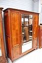 Vintage French parquetry three door armoire with