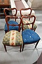Four antique French mid 19th dining chairs (4)