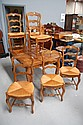 Set of six French  Louis XV rush seated chairs (6)