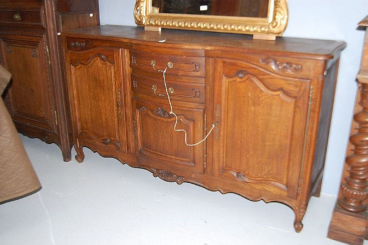 Vintage French Louis XV oak enfilade buffet,
