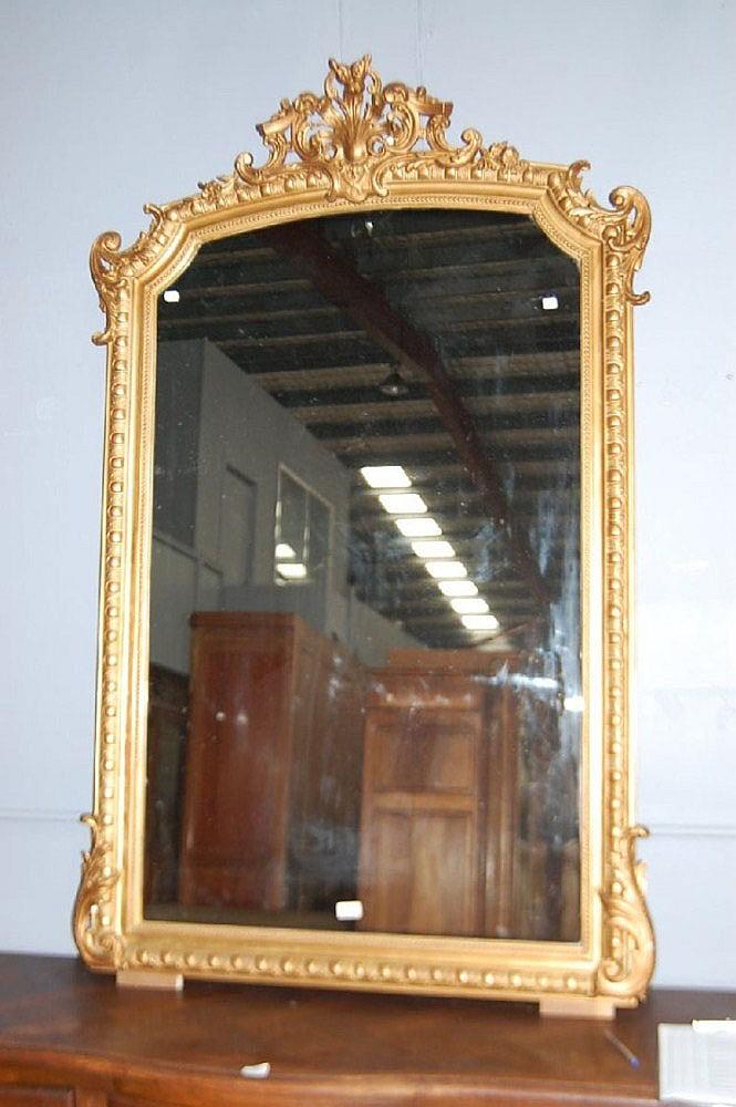 Antique French gilt surround mirror, 171 cm H x