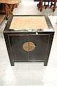 Oriental black lacquer two door cabinet, with