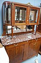 Vintage French parquetry walnut marble topped two