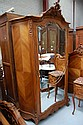 Antique French Louis XV walnut single door armoire