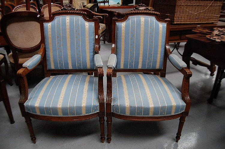 Pair of French Louis XVI walnut armchairs (2)