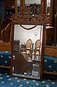 Antique Sheridan revival inlaid mirror, 125 cm H