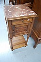Antique Henri II marble topped nightstand