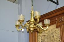 Fine Vintage French Empire style gilt bronze six light chandelier, with frosted glass shades