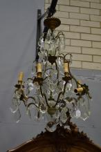 Vintage French eight light drop crystal chandelier