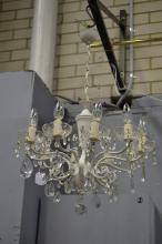 Vintage ten light white painted brass French style chandelier