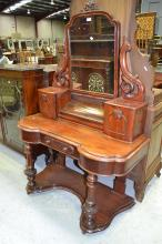 Antique Victorian mahogany dressing table, approx 182cm H x 123cm W x 58cm D